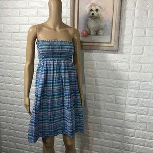 Vineyard Vines Tube Top Dress Plaid Strapless XS